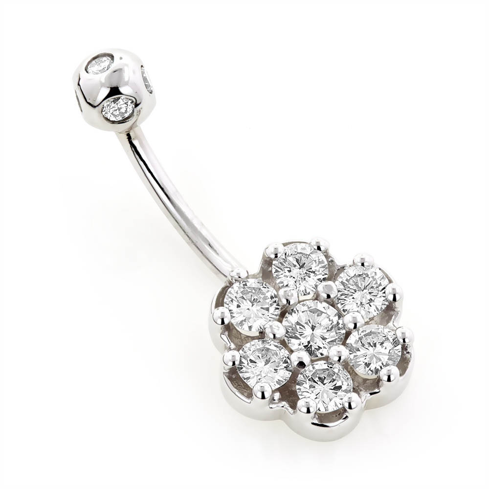 Belly Button Rings Gold Diamond Belly Ring Flower 1.38 White Image