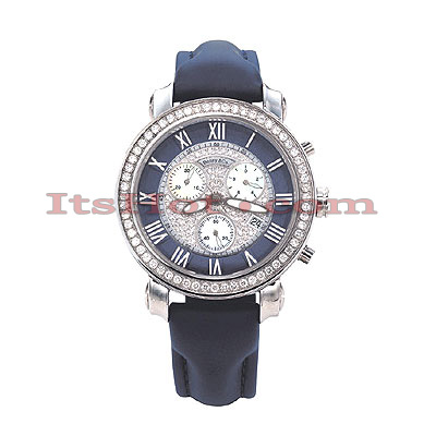 Benny Co Diamond Dial Watch 2.6ct Mens Navy