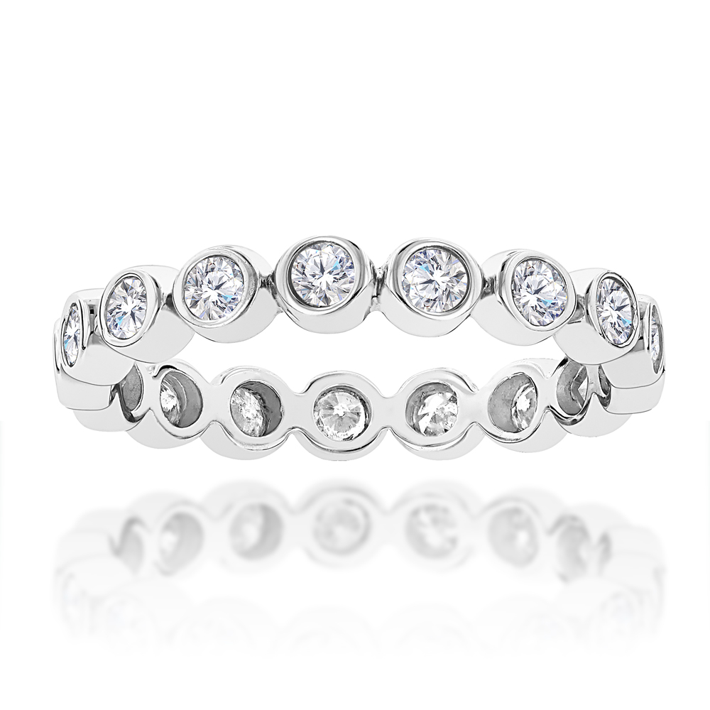 Thin Bezel Set Round Diamond Eternity Ring 1.25ct 14K Gold White Image