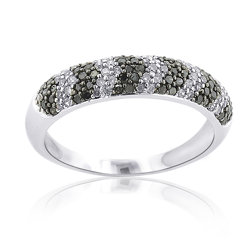 Thin Black and White Diamond Arrow Wedding Band 0.6 Sterling Silver