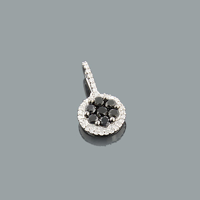 Black and White Diamond Circle Pendant 0.63ct Sterling Silver