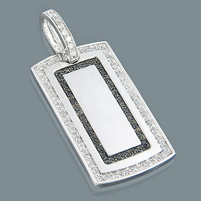 Black and White Diamond Dog Tag Pendant 1.11ct Sterling Silver