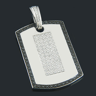 Black and White Diamond Dog Tag Pendant 1.19ct Sterling Silver