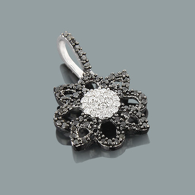 Black and White Diamond Flower Pendant 0.30ct 14K Lace Jewelry Main Image