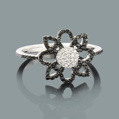Black and White Diamond Flower Ring 0.31ct 14K Lace Jewelry