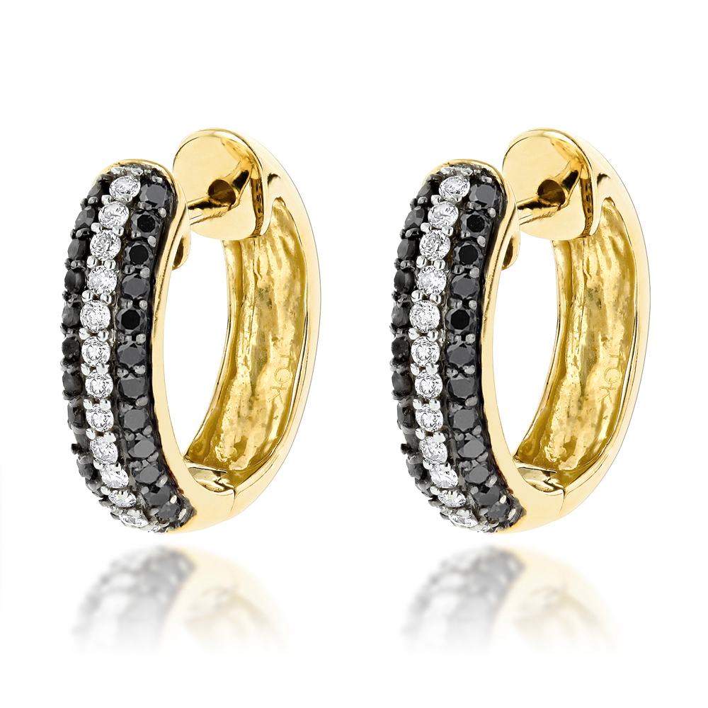 Black and White Diamond Hoop Earrings 0.64ct 10K Gold Yellow Image