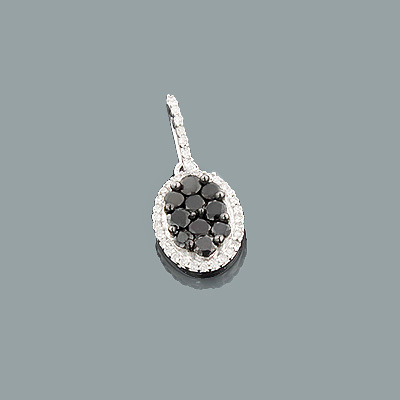 Black and White Diamond Pendant 0.63ct Sterling Silver
