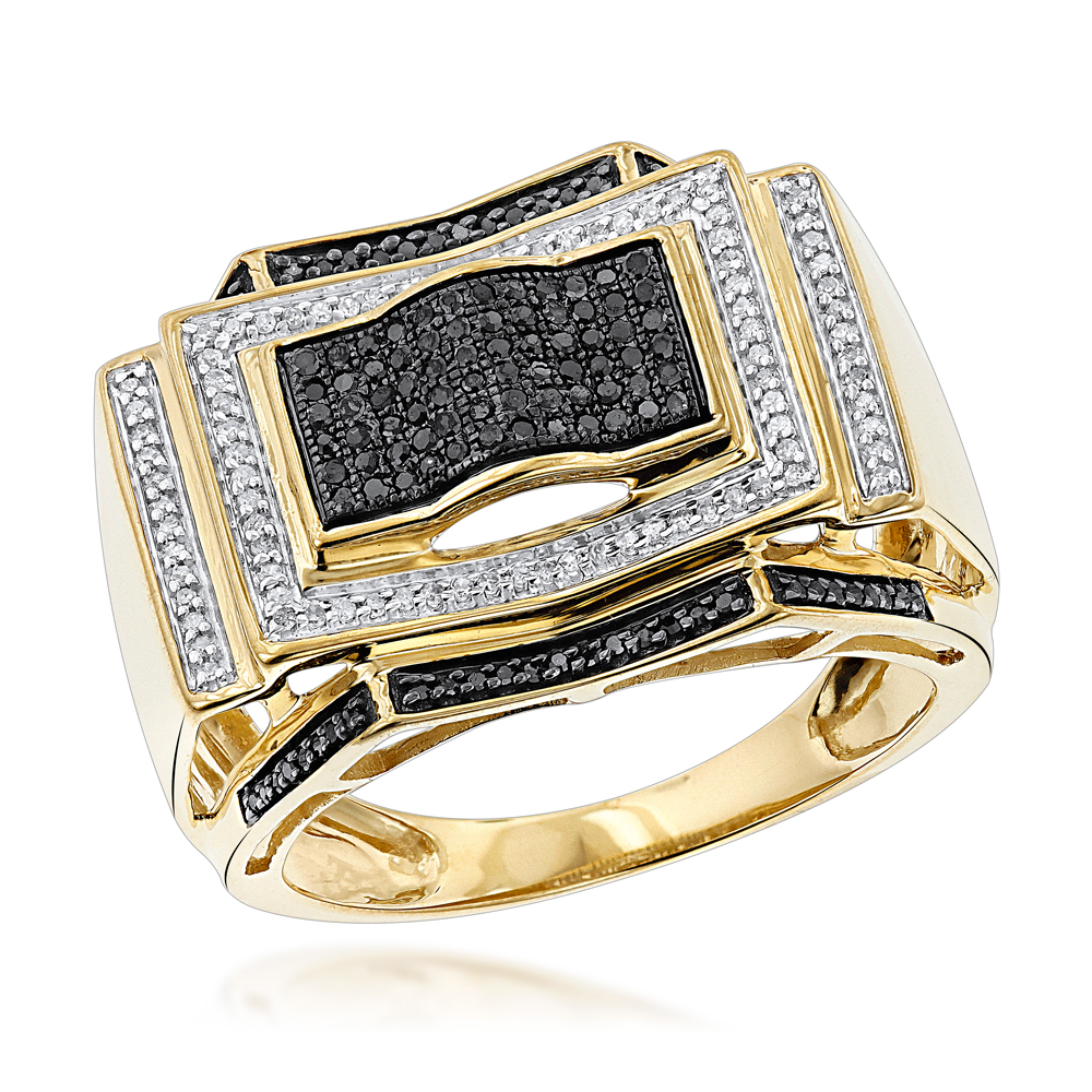 Black and White Diamond Ring for Men 0.5ct 10K Gold Yellow Image