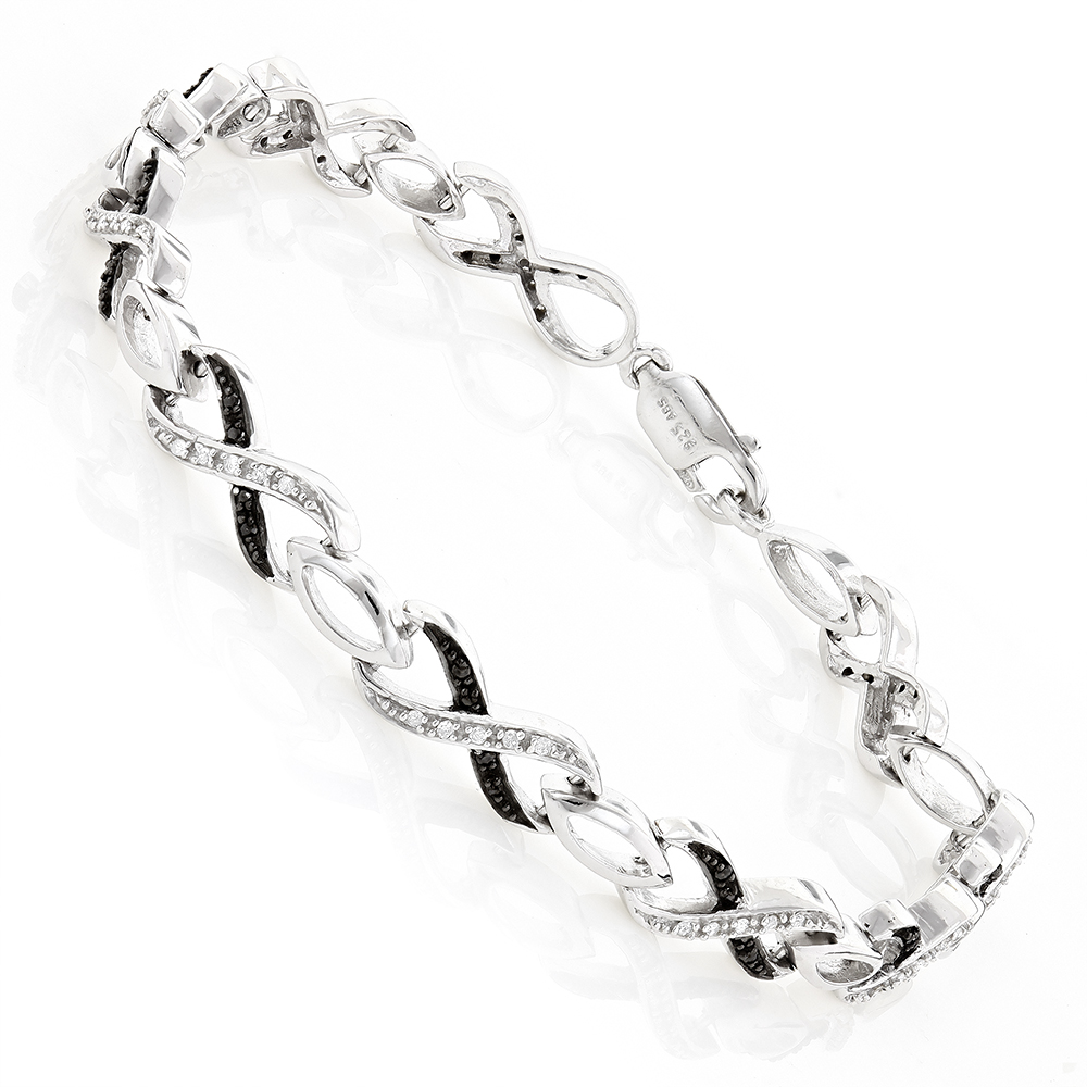 Black and White Ladies Diamond Infinity Bracelet 0.50ct Silver White Image