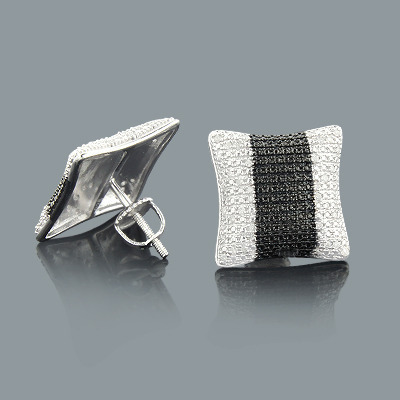 Black and White Stripe Diamond Earrings 0.18ct Silver
