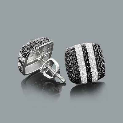 Black and White Stripe Diamond Earrings 0.19ct Sterling Silver