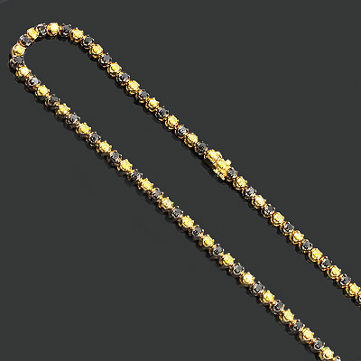 Black and Yellow Diamond Chain Necklace 20.87ct 10K Gold Main Image