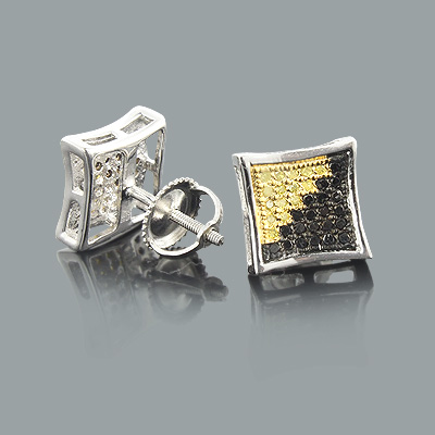Black and Yellow Diamond Stud Earrings 0.50ct Sterling Silver Black and Yellow Diamond Stud Earrings 0.50ct Sterling Silver