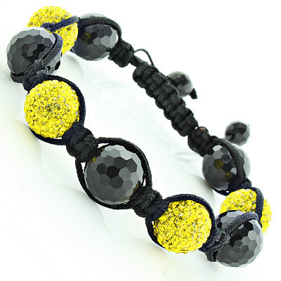 Black and Yellow Disco Ball Bracelet with Crystals Main Image