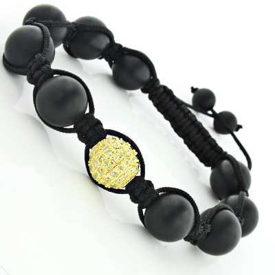 Black Bead Macrame Bracelet with Yellow Crystals Disco Ball Bracelet Main Image