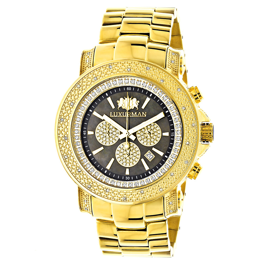 Black Dial Luxurman Diamond Watch 0.75ct Yellow Gold Plated Escalade Main Image