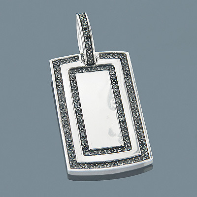 Black Diamond Dog Tag Pendant 1.12ct Sterling Silver