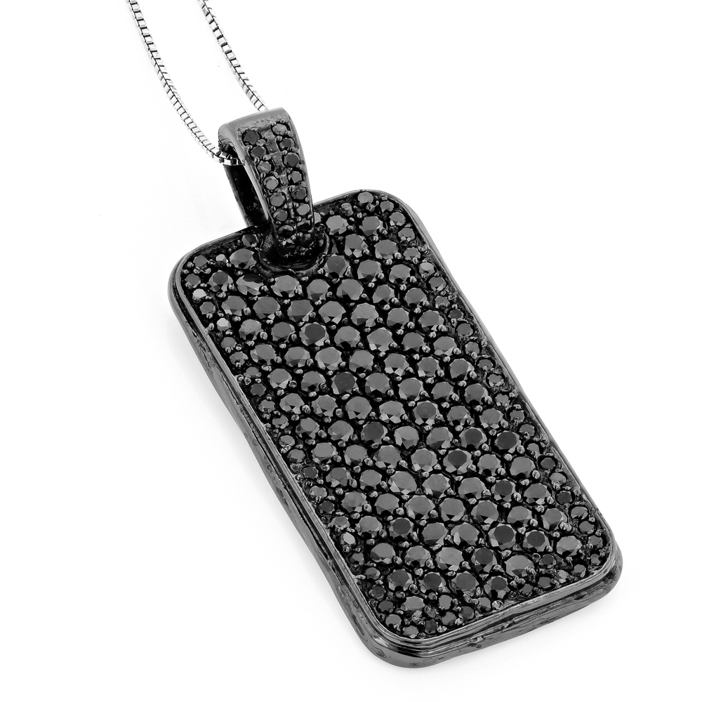 Black Diamond Dog Tag Pendant 7.15ct Sterling Silver Main Image