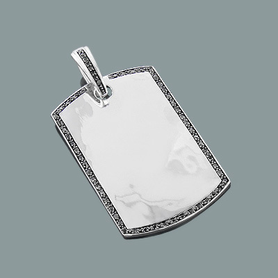 Black Diamond Dog Tag Pendant in Sterling Silver 0.59ct Main Image