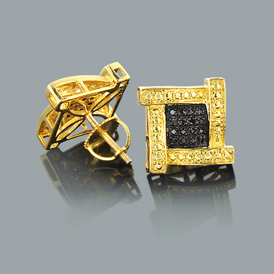Black Diamond Earrings 0.25ct Yellow Gold Plated Silver Main Image
