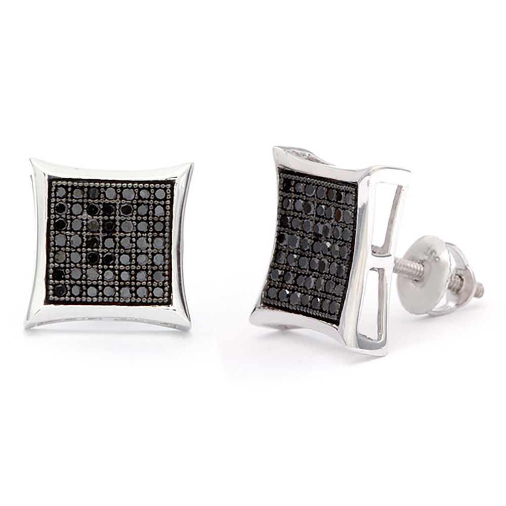 Black Diamond Earrings 0.50ct Sterling Silver Main Image