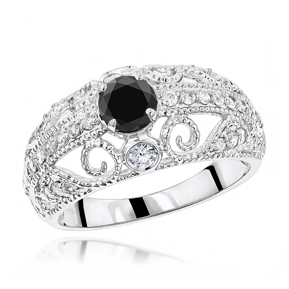 Antique White Black Diamond Engagement Ring with Filigree 1.2ct 14K Gold White Image