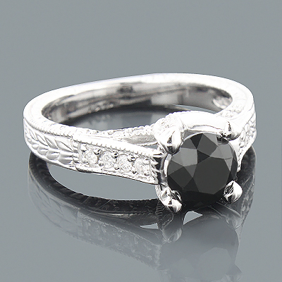 2ct Antinque White and Black Diamond Engagement Ring 14K Gold Main Image