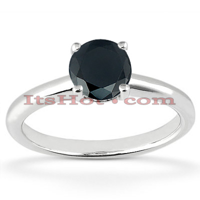 Thin Black Diamond Engagement Ring 14K Gold 1.32ct Main Image