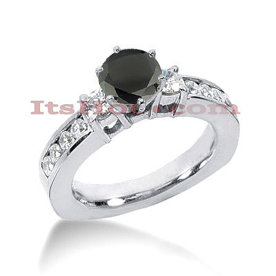 Thin Black Diamond Engagement Ring 14K Gold 1.52ct Main Image
