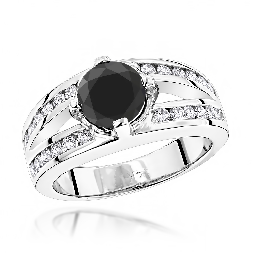 Black Diamond Engagement Ring 2.70ct 14K Gold Rings White Image