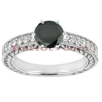 Thin Black Diamond Engagement Rings: 14K Gold Ring 0.76ct Main Image