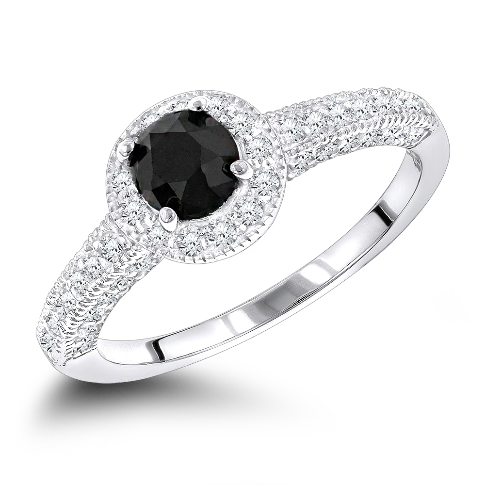Black Diamond Engagement Rings 14k Gold Ring 1 03ct