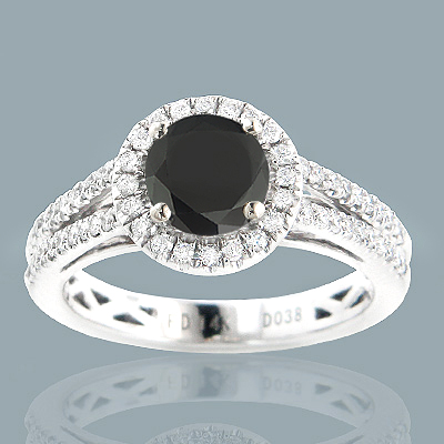 Black Diamond Engagement Rings: 14K Gold Ring 1.62ct