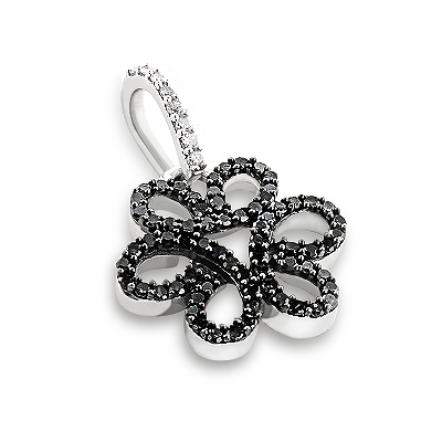 Black Diamond Flower Pendant 0.31ct 14K Gold