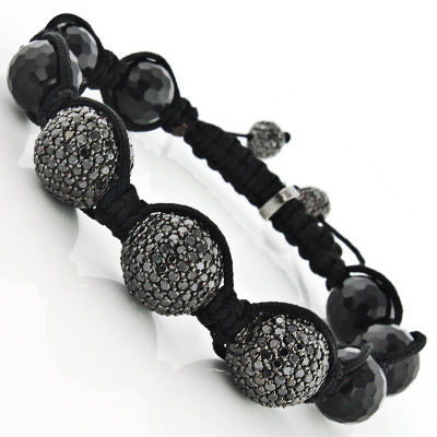 Black Diamond Jewelry: Disco Ball Bracelet 14K Gold Beads 13.50ct