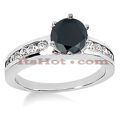 Thin Black Diamond Jewelry: Engagement Ring 0.94ct 14K Gold Main Image