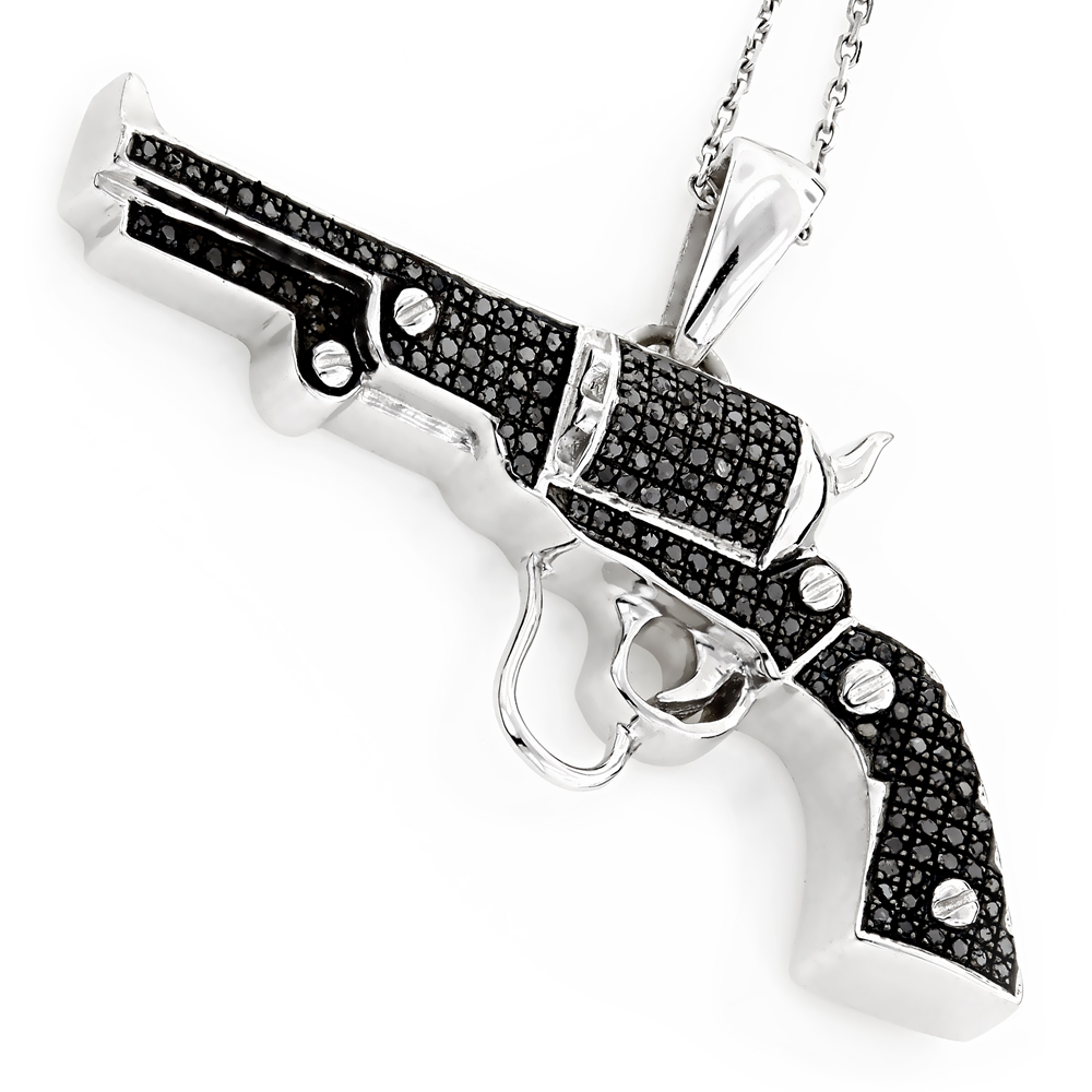 Black Diamond Jewelry: Sterling Silver Gun Pendant .9ct