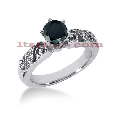 Thin Black Diamond Ring: Unique Engagement Jewelry 0.67ct 14K Main Image