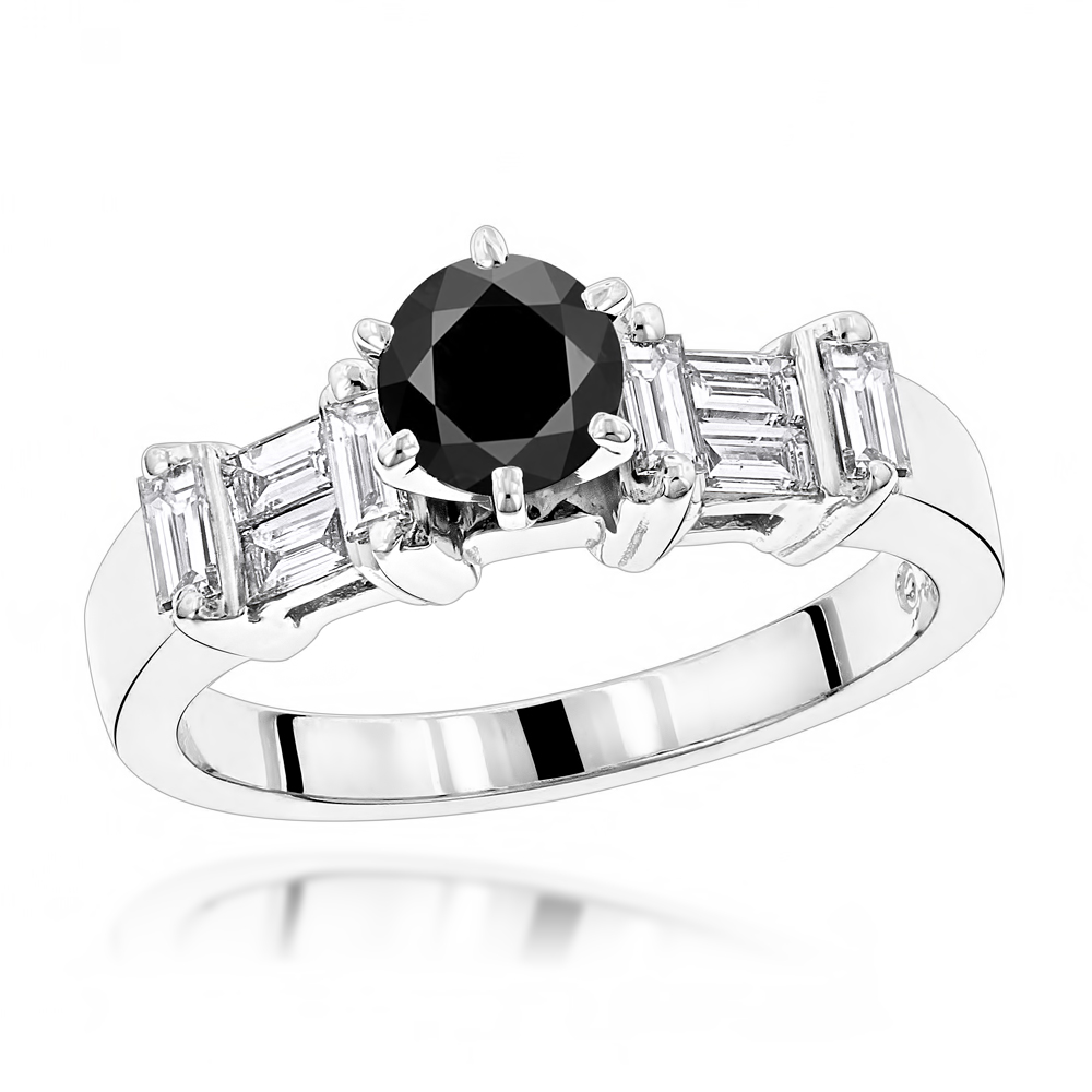 Thin Black Diamond Ring: Unique Engagement Jewelry 1.30ct 14K White Image