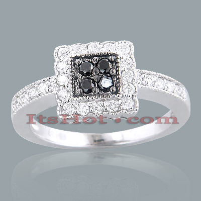 Black Diamond Rings 14K White Black Diamond Ring 0.64ct Main Image