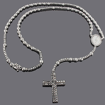 Black Diamond Rosary Necklace Chain 31.55ct