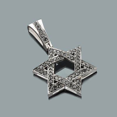 Black Diamond Star of David Pendant 1.44ct 14K Gold Black Diamond Star of David Pendant 1.44ct 14K Gold