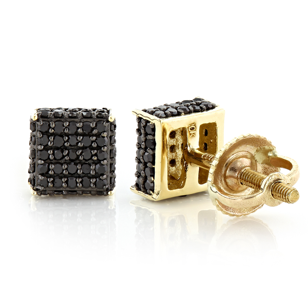 Black Diamond Stud Earrings 0.53ct 10K Gold Yellow Image