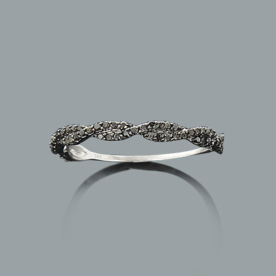 Ultra Thin Black Diamond Twist Ring 0.28ct 14K Stackable Main Image