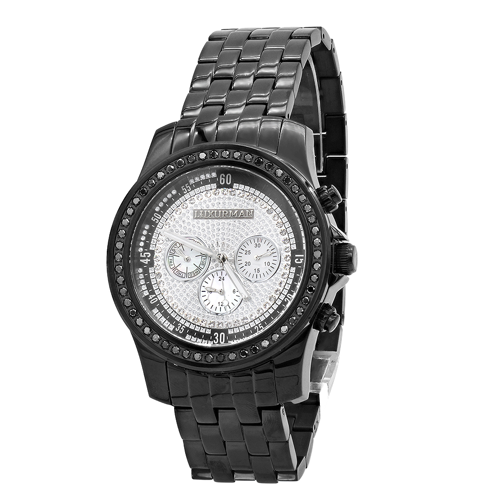 Black Diamond Watches for Men by LUXURMAN 2.25ct Main Image