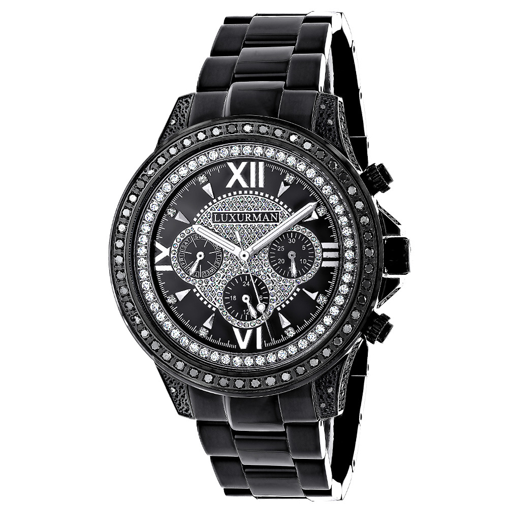 Black Diamond Watches: Luxurman Mens Diamond Watch Liberty Main Image