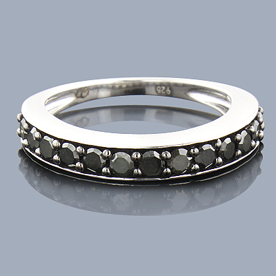 Thin Black Diamond Wedding Band 0.58ct Sterling Silver Main Image