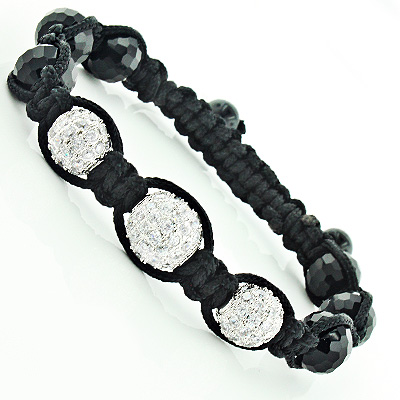 Black Disco Ball Bracelet Beaded with White Crystals