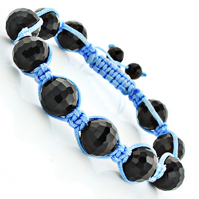 Black Disco Ball Bracelet with Blue String Main Image