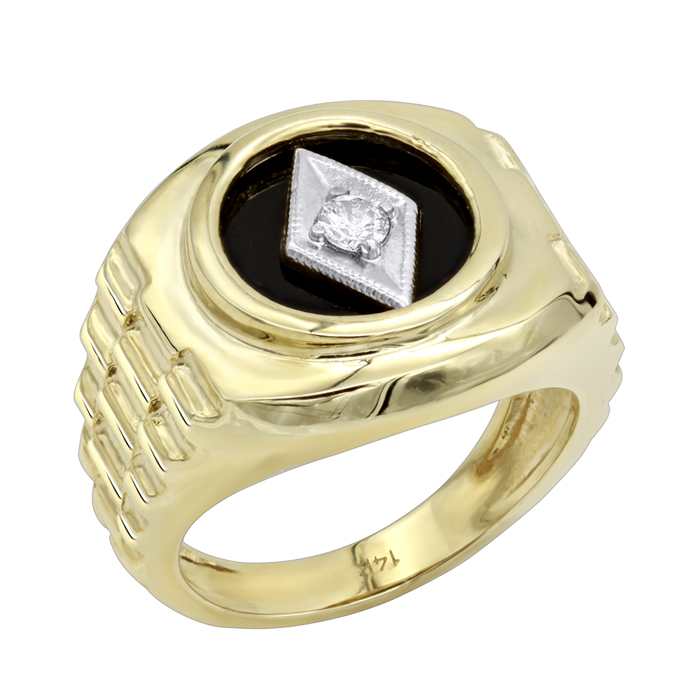 Black Onyx and Diamond Rings 14K Gold Diamond Ring 0.10 Yellow Image